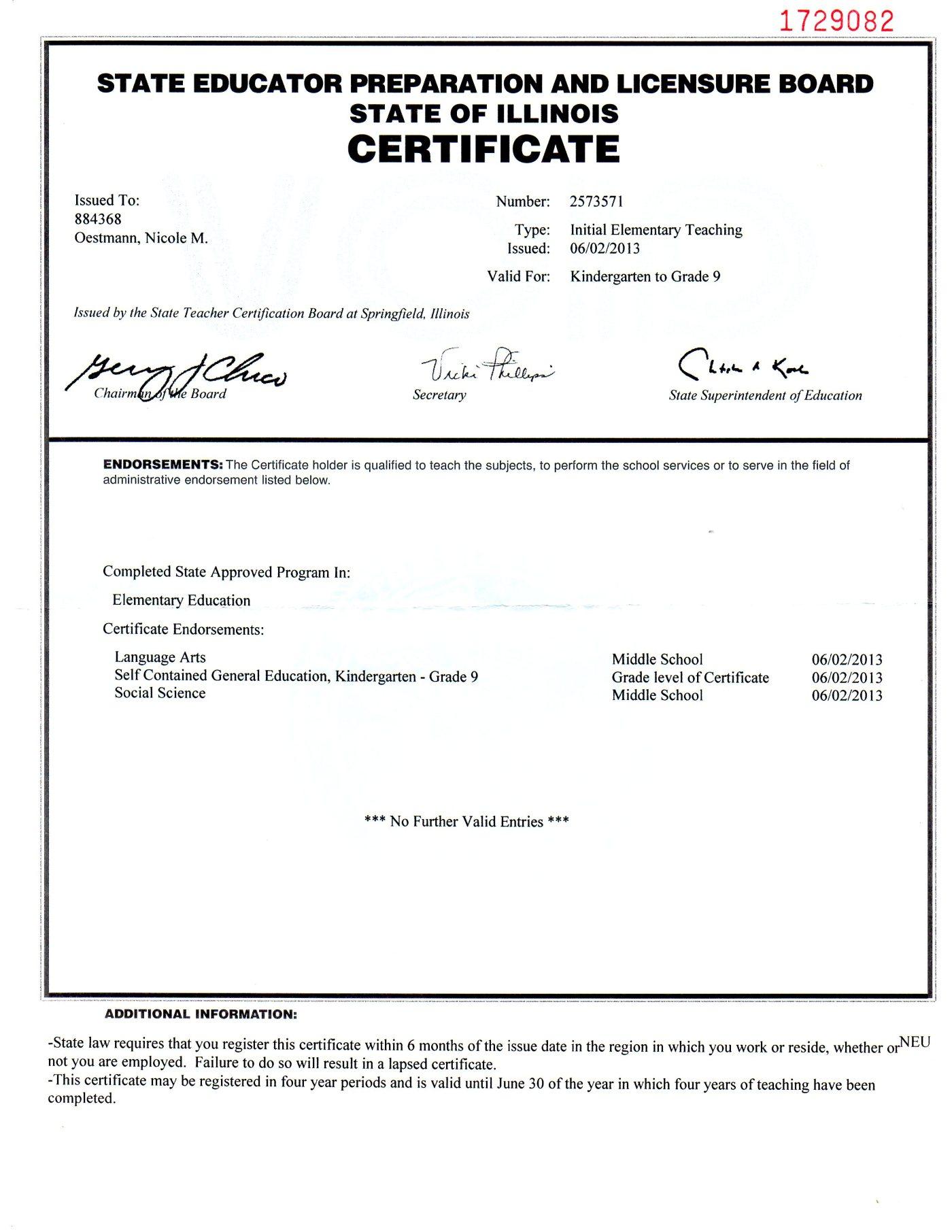 Illinois Teaching Certificate Nicole M Oestmann
